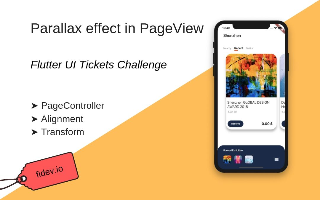 Parallax effect in PageView - UI Tickets Challenge - Fidev
